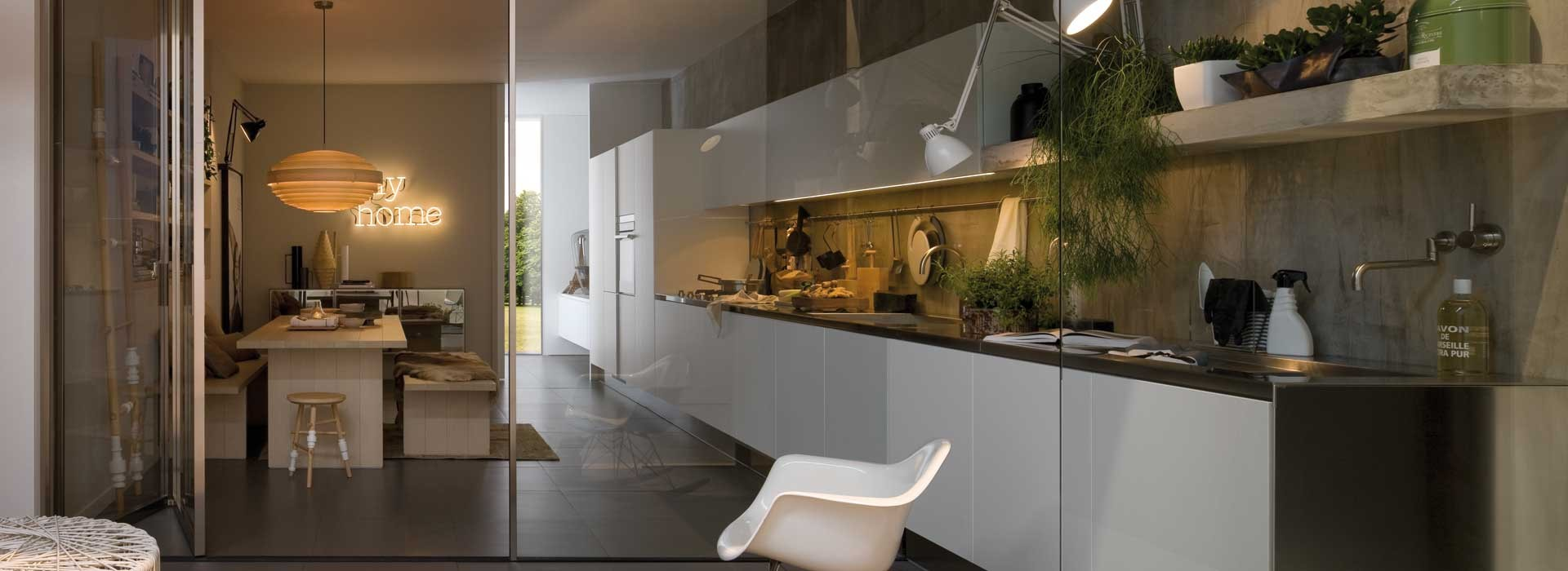 Arclinea Gamma design keuken afwerking hoogglans wit